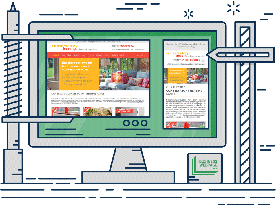 E-commerce web design - Conservatory Heating