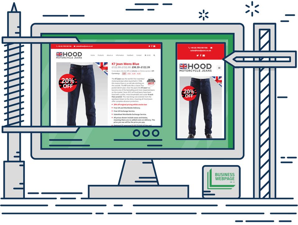 Ecommerce web design Hood Jeans